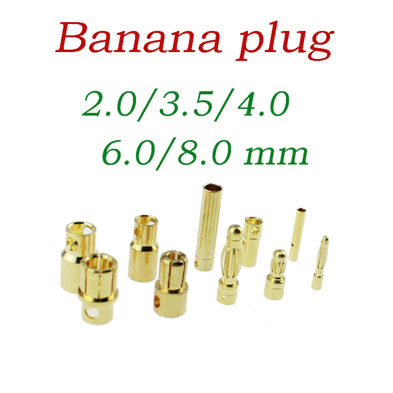 60 Pairs 2mm//3.5mm//4mm Gold-plated Bullet Banana Plug RC Battery Connector