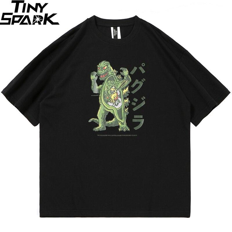 2020 Men T Shirt Hip Hop Streetwear Japanese Monster Tshirt Summer Short Sleeve Harajuku Cartoon T-Shirt Cotton Tops Tees Black