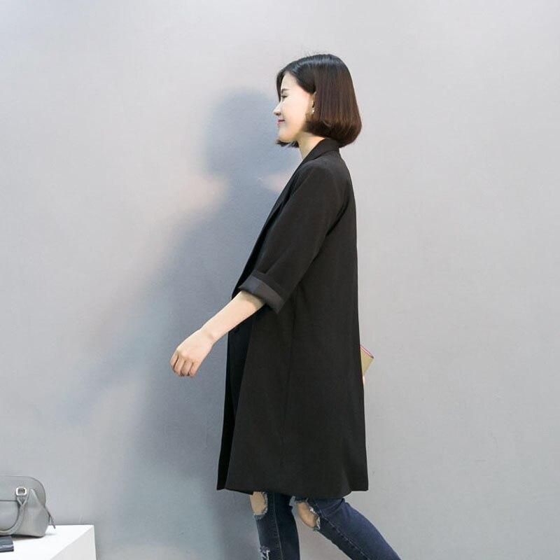 New European Women Blazer Black Long Loose Jacket For Women Office Turn Down Collar Suit Female Ladies Blazer LX495