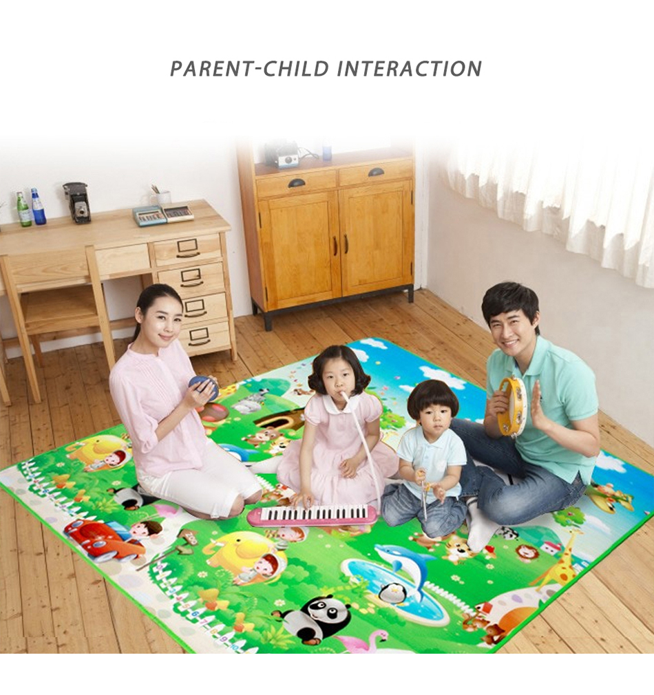 Hbe248bf660804127ab16b9ba97e6464dw Baby Play Mat 0.5cm Thick Foldable Crawling Mat Double Surface Baby Carpet Rug Cartoon Developing Mat for Children Game Playmat