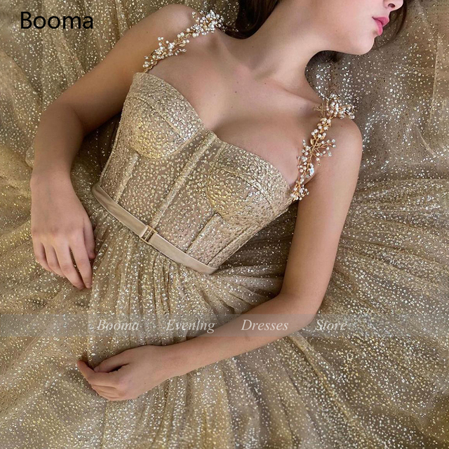 Booma Gold Glitter Tulle Prom Dresses Beaded Straps Tea-Length Prom Gowns Pockets A-Line Short Formal Party Dresses Plus Size 4