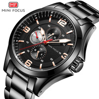 Minifocus Fox Mf0199g Brand Business Men Steel Belt 24 When Night Light Waterproof Quartz Watch