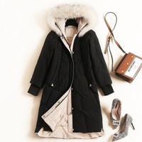 Winter Warm Hooded Down Jacket Women Luxury Detachable Fox Fur Collar Warm keeping Thick Long Coats 9406