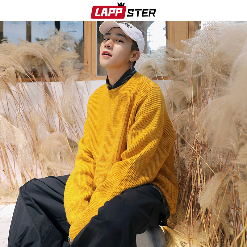 LAPPSTER Men Oversized Colorful Sweater 2019 Mens Winter Korean Fashions Sweater Male Pullover Harajuku Solid Sweaters Fashions