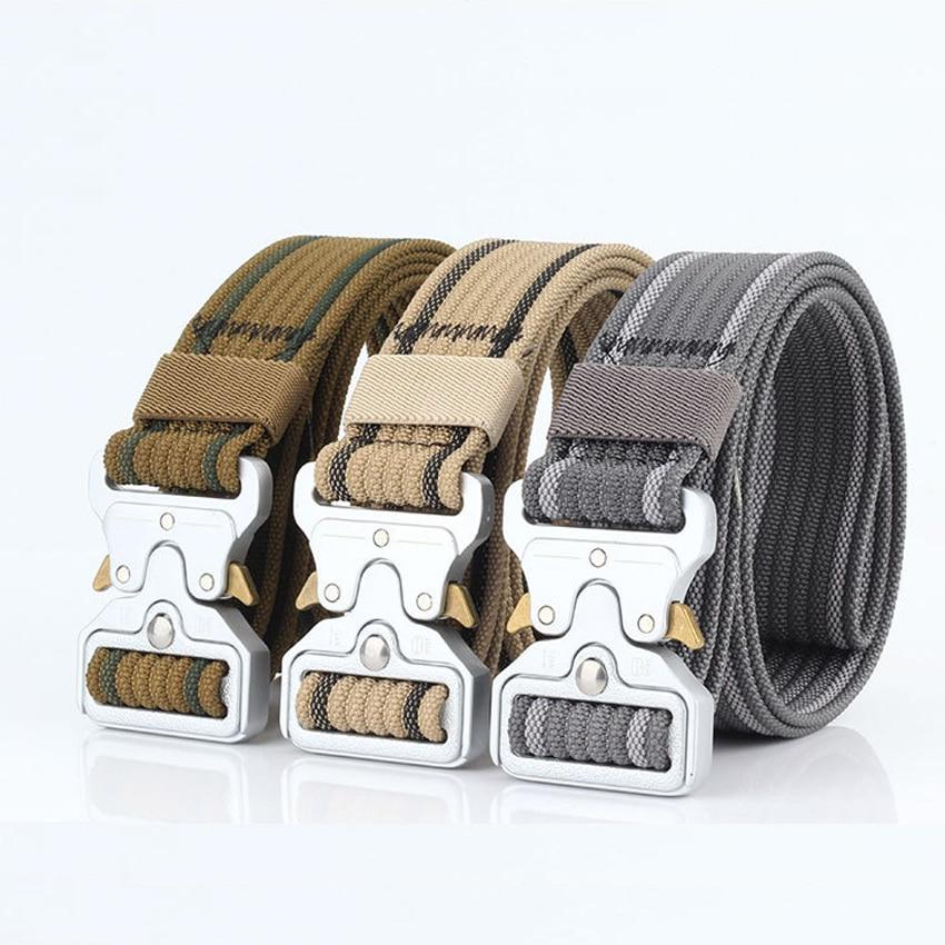 8 Colors Military Equipment Solid Belt Men Tactical Designer Belts For Jeans Pants Nylon Strap Canvas Metal Buckle Waist Belt