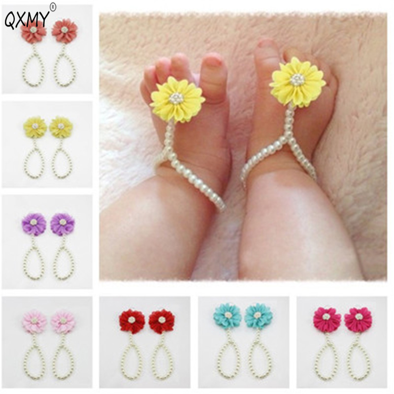 Baby Pearl Anklets Shoe Fashion Jewelry With Flowers Foot Chain Infant Colorful  Barefoot Anklet Chain Accessories