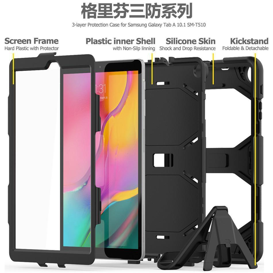 Tablet Shockproof Hard <font><b>case</b></font> Military Heavy Duty Silicone Rugged Stand Cover For Samsung Galaxy Tab A 10.1 2019 <font><b>T510</b></font> T515 SM-<font><b>T510</b></font> image