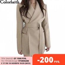 Colorfaith新 2020 秋冬の女性のブレザーサッシジャケットノッチ上着イングランドスタイル固体カーディガンJK9715 トップス