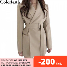 Colorfaith chaquetas con fajas para mujer, ropa de vestir con muescas, estilo inglés, cárdigan liso, novedad de 2020, JK9715