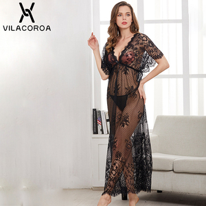 Image 1 - Deep V See Through Lace Sexy Women Night Dress Short Sleeve Sashes Bow Woman Sleepwear Spring Sexy Home Women Long Night Dress