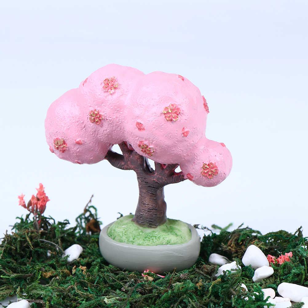 Hot البيع 1 قطعة شجرة صغيرة الجنية حديقة المشهد الصغير شجرة الكرز الراتنج الحرف بونساي المنمنمات حديقة ديكور المنزل