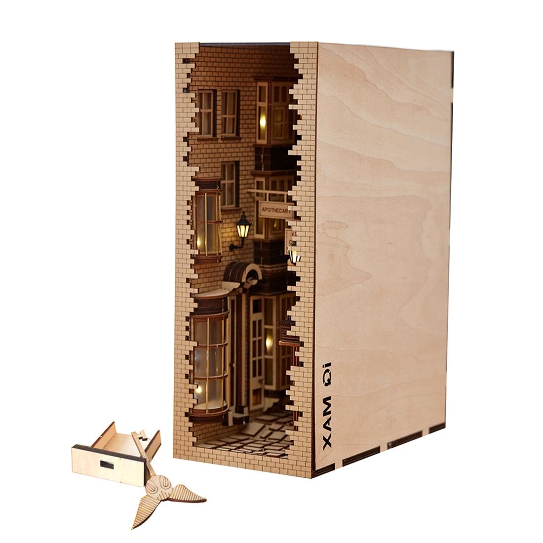 Japanese Style Street Rear Lane Bookcase 3D DIY Wooden Assembled Model Bookshelf - New London Lane + Tool Kit