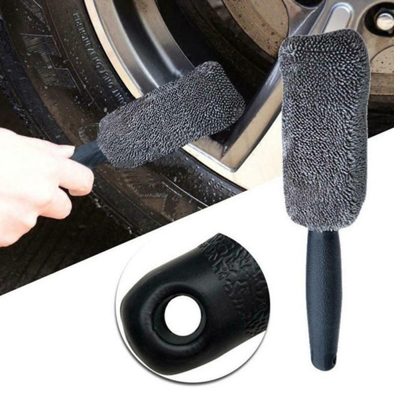 Universal Car Cleaning  Portable Microfiber Wheel Tire Rim Brush For Car With Plastic Handle Washing Cleaner Car Accessories