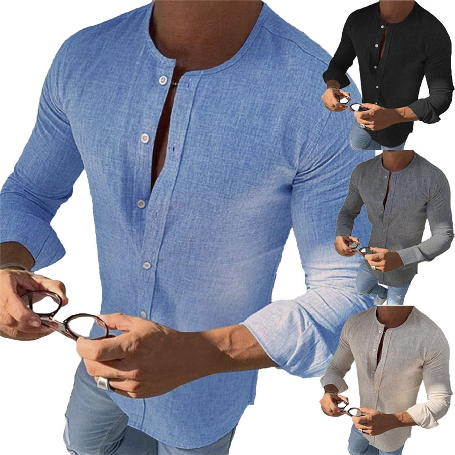 Men's Slim Fit Cotton Linen V Neck Long Sleeve Muscle Tee T-shirt Casual Tops Henley Shirts Autumn 2019 New