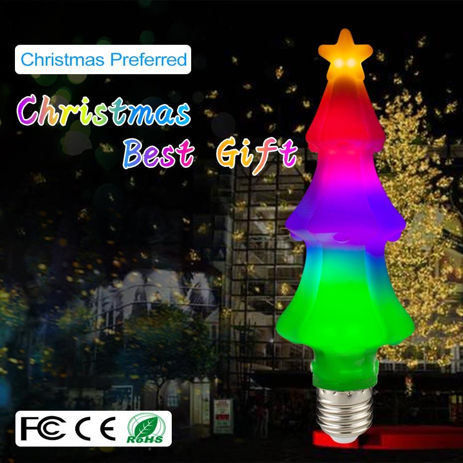 Arbre de noël 3D Led veilleuse effet coloré dynamique décoration de noël E27/USB Led ampoule de nuit avec lampe à flamme de sel