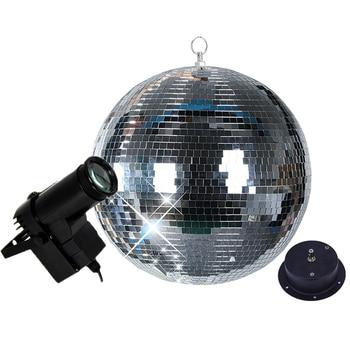 Thrisdar Dia25CM 30CM Rotating Glass Mirror Disco Ball + Motor + 10W RGB Beam Pinspot Party KTV Bar Xmas Mirror Ball Stage Light