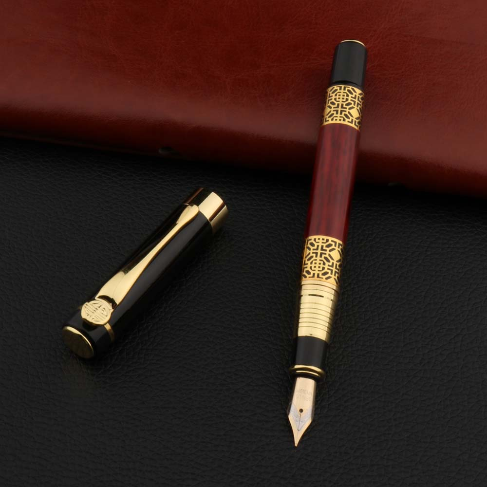High Quality 530 Golden Carving Mahogany Luxury Business School Student Office Supplies Fountain Pen New Ink Pen