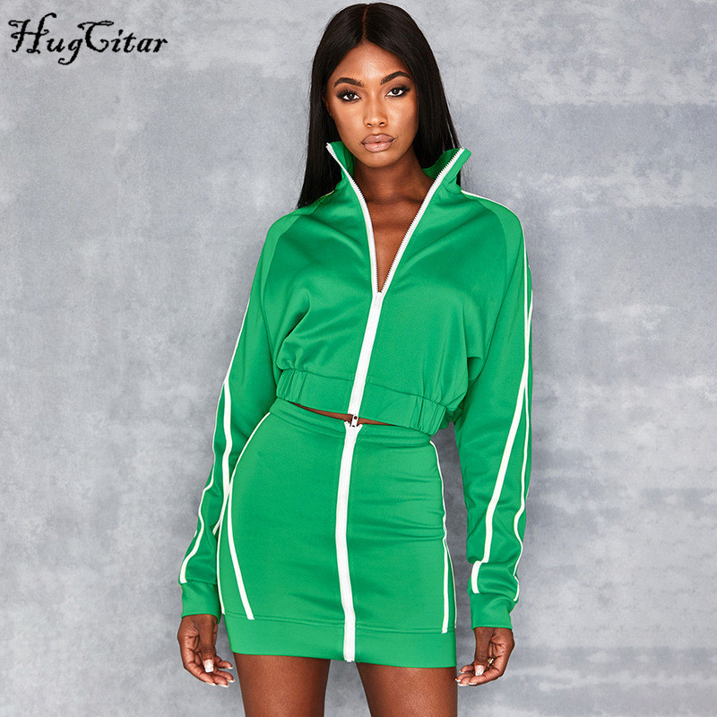 Hugcitar 2019 Long Sleeve Striped Zip-up Cropped Jacket Skirt 2 Two Pieces Set Autumn Winter Women Top Tracksuit