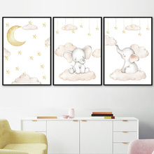 Cartoon Moon Star Cloud Elephant Nordic Posters And Prints Wall Art Canvas Painting Pictures For Baby Kids Room Home Decor