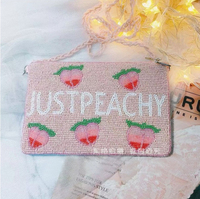 Angelatracy Purse Pink Peach Coin Bead Women Plus Phone Handmade Daily Holder Beads Embroidery Zipper Wallet Shoulder Bag