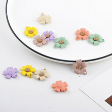 10pcs/lot 19*21MM Rubber Paint Flower Charms Earring DIY Alloy Pendant Flowers Enamel Charm Bracelet Jewelry Accessory FX503