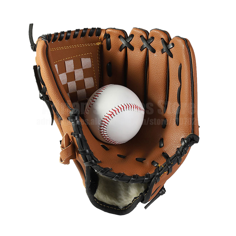 Kids/Adults Baseball Set With 1 Baseball Glove & 1 Ball 3 Colors Thick Leather Glove Baseball Mitt