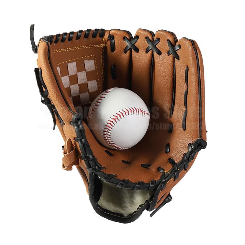 Kids/Adults Baseball Set With 1 Baseball Glove & 1 Ball 3 Colors Thick Leather Glove Baseball Mitt