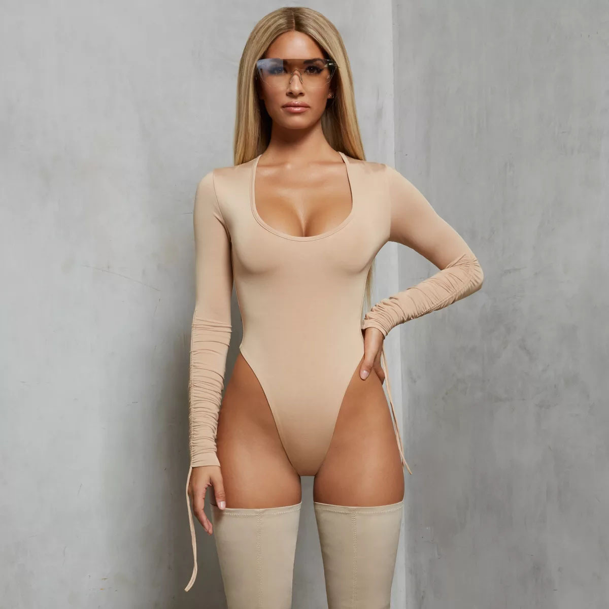 JS458J-European And American Foreign Trade Round Neck Elastic Long Sleeve One-piece Clothing In Autumn And Winter