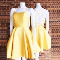 Lakshmigown Sexy Short Homecoming Dresses For Girls 2019 Vestido Curto Yellow Prom Dresses Juniors Graduation Party Dress