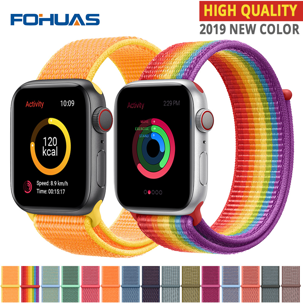 New High Quality Nylon Sport Loop Replacment For Apple Watch Band Series 4 3 2 1 Soft Breathable Woven Strap 44mm Iwatch 42mm 38