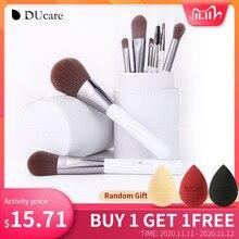 DUcare Juego de brochas de maquillaje blancas, 8 Uds., brochas profesionales para maquillaje en polvo, base, sombra de ojos, con cilindro