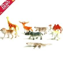 8Pcs/set Cute Plastic Zoo Animal Figure Tiger Leopard Hippo Giraffe Kids Children Toy Lovely Animal Toys Set Gift