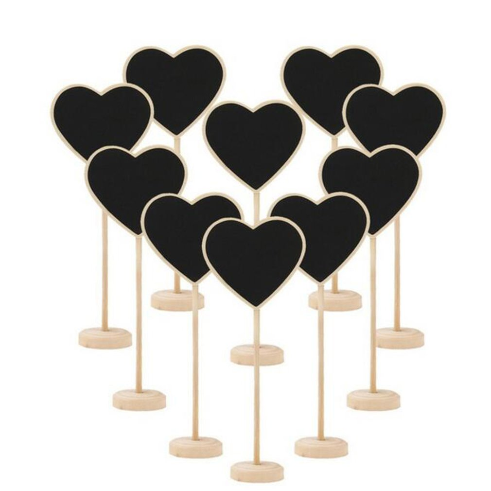 10Pcs Wooden Blackboard Chalkboard Mini Wood Message Notice Board Table Wedding Party Decor Write Information