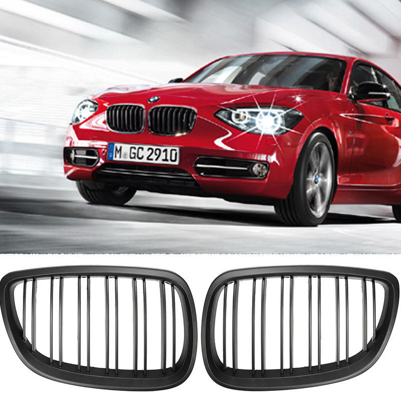 1 pair Gloss Black Front Kidney Grill Double Slat Double Line Grille For <font><b>BMW</b></font> <font><b>E60</b></font> E61 <font><b>5</b></font> <font><b>Series</b></font> 2003-2010 car accessories Coupe image