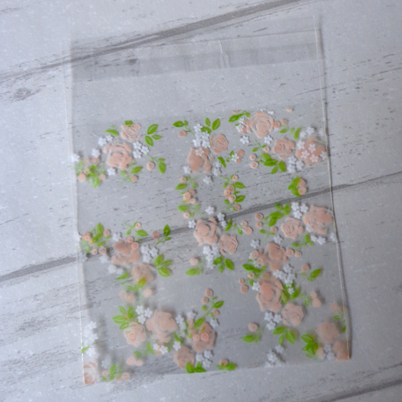100pcs 7X7cm Floral Transparent Opp Plastic Bags For Candy Cookie Packaging Cellophane Bag Gift Bag Stationery Plastic Envelope