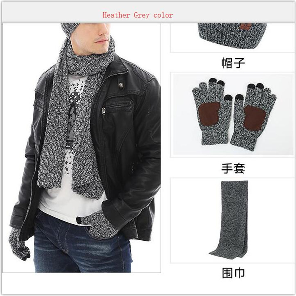 Men Solid Knitted Scarf Hat & Glove Sets With Telefingers Gloves And Wide Cuff Male Boys Ribbed Beanie Long Scarf Set Warm Winter Sets In Black Charcoal Heather Grey Navy