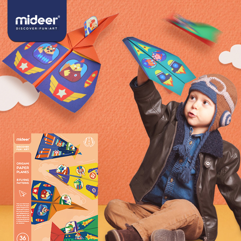MiDeer Baby Origami Toys Funny Paper Airplane Fold Kindergarten Colorful Animals Theme Ink Printing 3-12Y Kids DIY Gifts