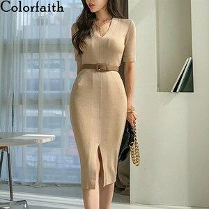 Colorfaith New 2020 Summer Autumn Women Dresses V-neck Split Knitting High Waist Bottoming Elasticity No Belt Long Dress DR3255