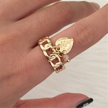 Nowe mody śliczne pierścionki złoty kolor w kształcie łańcucha pierścionki piękne serce i koralik pierścionki z zawieszką dla nowoczesnej mody kobiet i dziewcząt tanie i dobre opinie ZIHHO Ze stopu cynku Kobiety Żywica Śliczne Romantyczny Koktajl pierścień Wszystko kompatybilny ZR21138 Brak Party GOLD