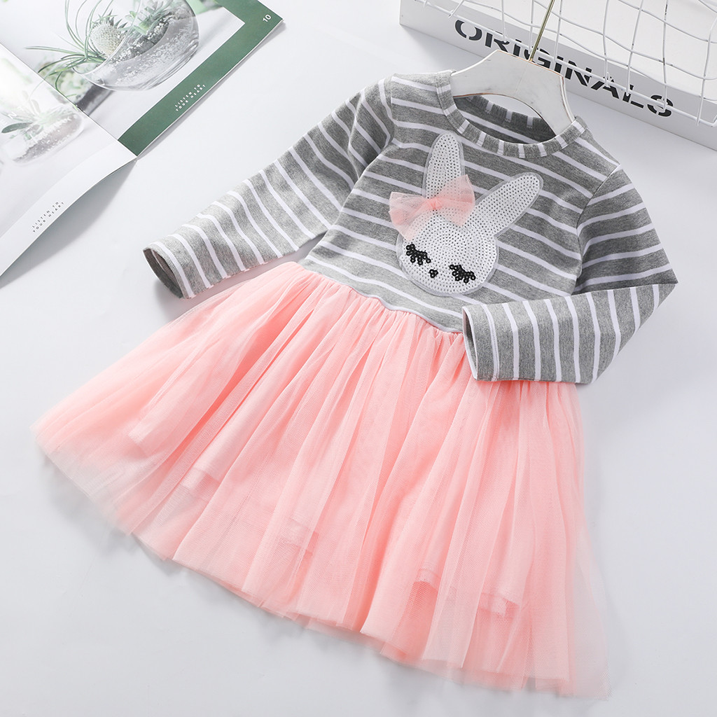 Rabbit Toddler Baby Girls Dress Long Sleeve Party Casual Dresses  Clothes Easter