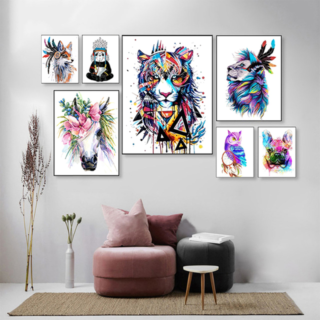 Abstract and Colorful Animals Animal Paint By Numbers Alca Cartel