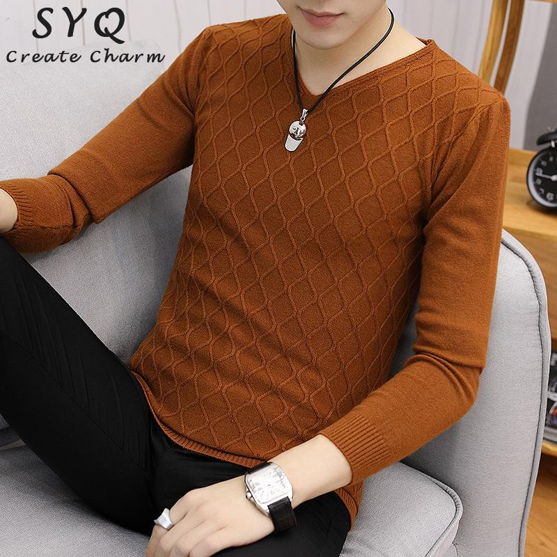 New Autum Knitting Casual Sweater Men Long Sleeve Pullovers Outwear Man V-Neck sweaters Tops Loose Solid Fit Knitting Clothing