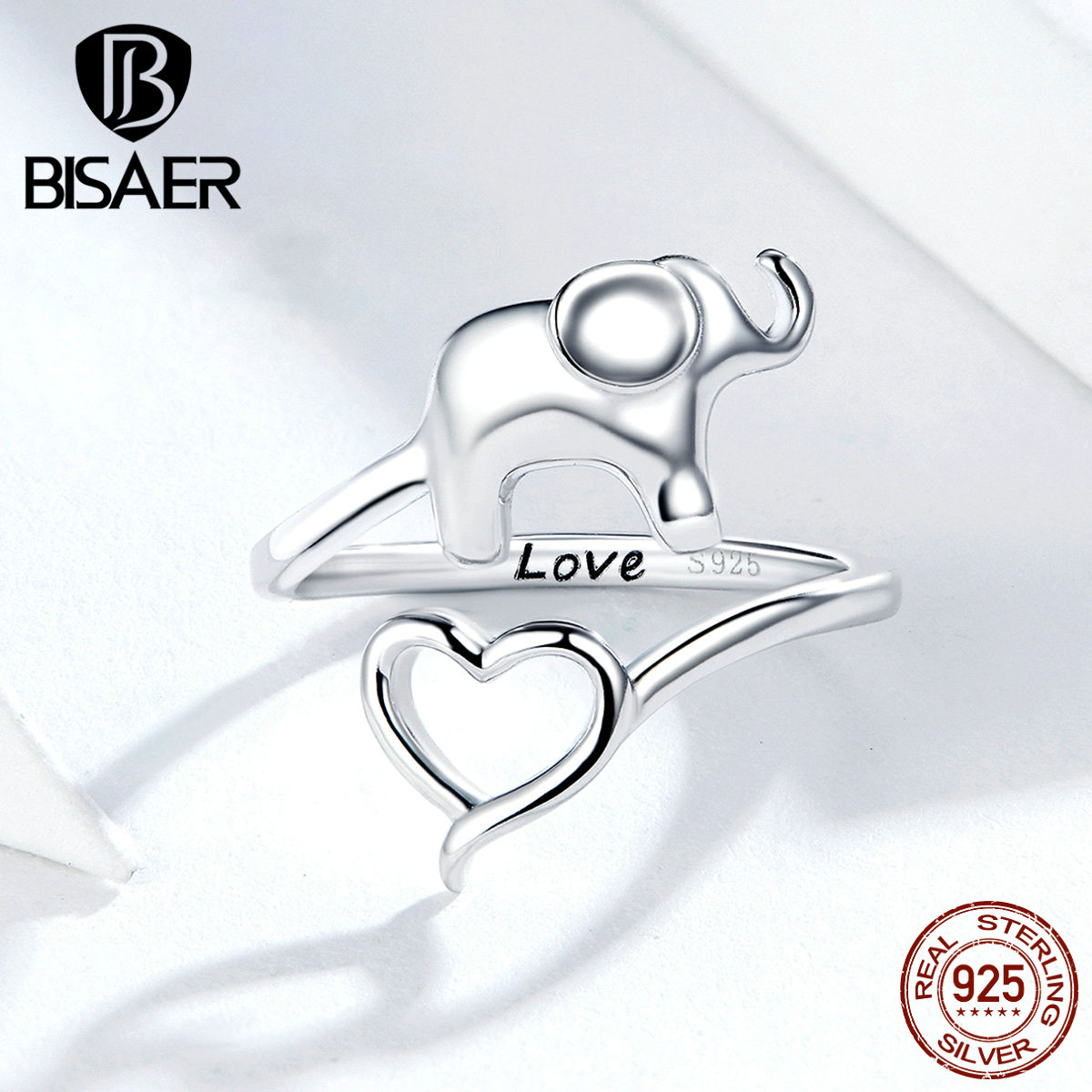 BISAER 100% 925 Sterling Silver Love Elephant Finger Rings For Women Elephant In Heart Rings Love Animal Jewelry Anel ECR585
