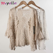Women Beach Style Tops 2019 Autumn Lace Hollow Out Cardigan Blouse Woman Fashion Sweet  Korean Clothing