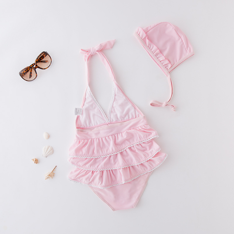 Short In Size Processing Women's One-piece Swimming Suit Pink Layers Bandage Cloth Accrual Taking KID'S Swimwear Hot Springs Clo
