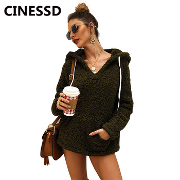 цены CINESSD V Neck Hooded Sweatshirts Hoodies Women Drawstring Long Sleeves Solid Pullovers Thicken Fleece Casual Coat Pocket Hoodie