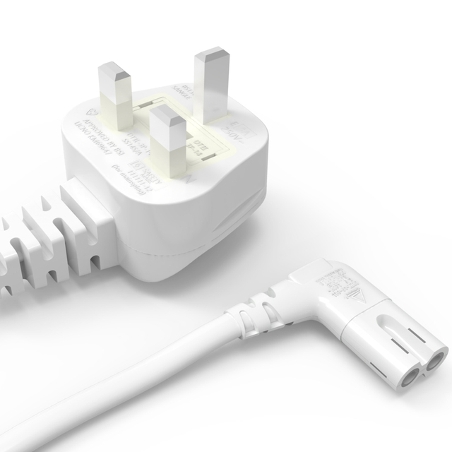 3M สีขาว UK สายไฟ AC 3 มุม 90 องศา IEC C7 รูป 8 สำหรับ Samsung LG SONY Sharp LED TV, PS4 PS3 สายไฟ