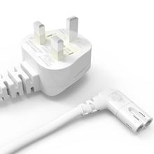 3M blanco UK AC cable de alimentación de 3 puntas a ángulo 90 grados IEC C7 figura 8 para Samsung LG Sony Sharp LED TV, PS4 PS3 Cables de alimentación