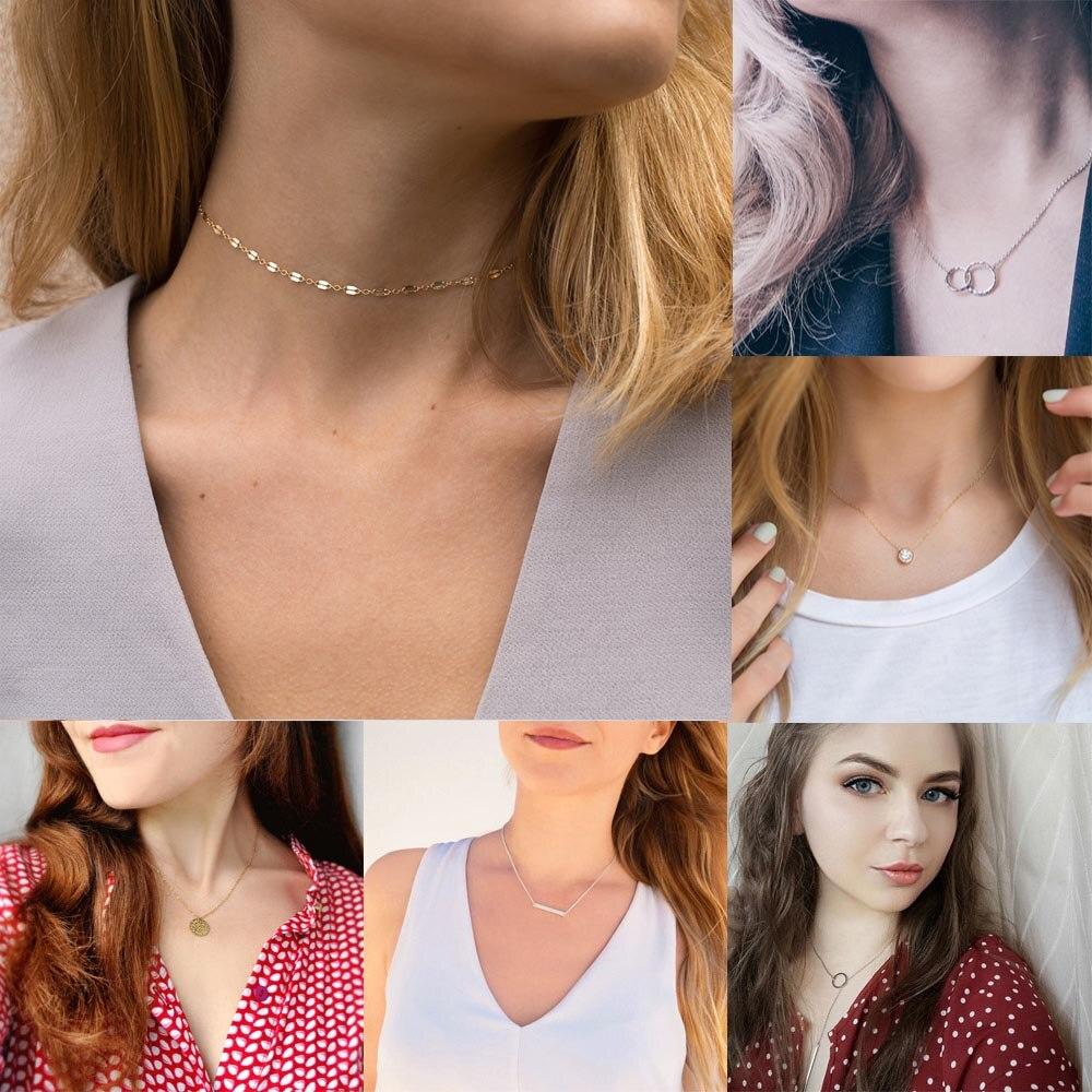 JUJIE acier inoxydable tour de cou chaîne colliers pour femmes 2020 classique or couches collier ensembles bijoux vente en gros/livraison directe