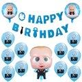 Boss Baby воздушных шаров из латекса, босс Фольга баллоны Baby Shower баннер на день рождения с голубых тонах, вечерние декор с персонажами из мультфи...